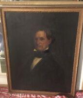 Original18th/19th Century Antique Oil On Canvas Portrait Of Important Gentleman