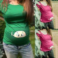 Women Maternity Summer Short Sleeve Tops Cute Cartoon Tee Shirt Pregnancy Blouse