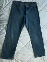 Men's Marks and Spencer Blue Harbour Cotton Dark Blue Denim Jeans Size W34 L29