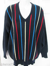 ALAN PAINE Vintage Dark Blue Striped V-Neck LS Pullover Sweater 42 Lambswool