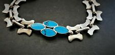 STERLING SILVER 950 TM-283 INLAID TURQUOISE TAXCO MEXICO SILVER BRACELET SAFETY
