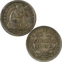 1853 Arrows Seated Liberty Half Dime XF EF Extremely Fine 90% Silver 5c US Coin