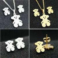 Lovely Fashion Bear Stainless Steel Earring Necklace Set Jewelry Gold/Silver