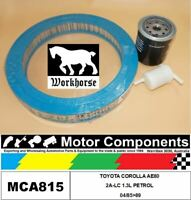 FILTER SERVICE KIT FOR TOYOTA COROLLA  AE80 2A-LC 1.3L PETROL 04/85>89