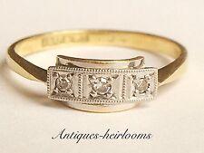 Antiguo/Vintage 18ct Oro y Platino Diamante Anillo Trilogía Pieza De Calidad