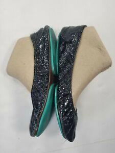 Tieks Sz 9 Obsidian Black Leather Ballet Flats Women's FLAWED*