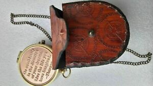Brass Camping Pocket Compass Case Vintage Necklace Antique Compass W/Chain