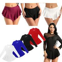 Women Long Sleeve Figure Latin Skate Dress Ballet Dance Gymnastics Leotard Skirt