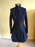 CALVIN KLEIN Women's Stand Collar Walker Coat Navy Size XXS UK 6 RRP $300 Smart