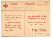 Italy  To Switzerland Red Cross Request For Info On POW In Jugoslavia 1944