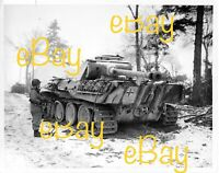 Jan 1945 US Signal Corps Photo Reprint German Panther G Tank Soldier w/ Thompson