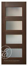 """LuxDoors Interior Door [36"""" x 80""""] 4-Lites Satin Etched Glass Mahogany"""
