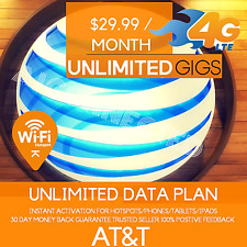 AT&T UNLIMITED 4G LTE DATA PLAN NO THROTTLING FOR HOTSPOT/PHONE/TABLET/IPAD/WIFI