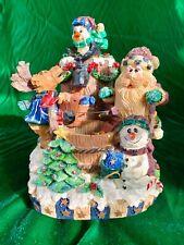 """San Francisco Music Box Co. Musical """"Moose Fountain"""" Santa Christmas Snowman Box"""