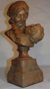 Italian Terracotta Bust Sculpture Mother Child Ferdinando Vichi Madre e Hijo Fig