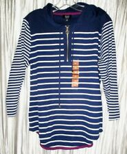 NEW *JONES NY* Lt. Weight, 3/4 Sleeve,Stripe,100% Cotton, Pull Over Hoodie, Med
