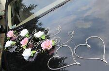 Brautauto Dekoration Autoschmuck Hochzeitsauto Schmuck Autodeko Set12 weiß/rosa