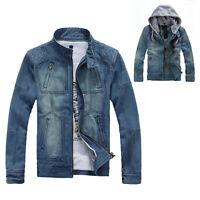 Fashion Men's Denim Cowboy Jeans Hooded Jacket Coat Casual Outwear M-5XL