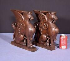 *French Antique Solid Oak Wood Statues/Pedestals with Griffins or Lions Salvage