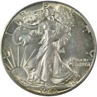 1945 50c Liberty Walking Silver Half Dollar US Coin AU About Uncirculated