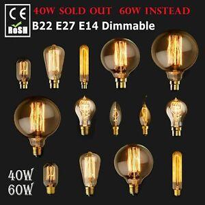E14 E27 B22 40W 60W Vintage Retro Edison Antique Filament 240V Lamp Light Bulb