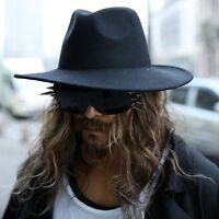 ByTheR Men's Classy Fashion Black Chic Noir Woolen Felt Wid Brim Fedora Hat AU