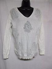 Reiss Women's White Jerry Floral Stitch-Detail Long sleeve Jumper Size XS    Z4