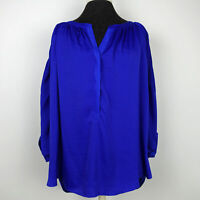 Jennifer Lopez Womens Blouse Gathered Long Sleeve Top High Low Turquoise Size 0X