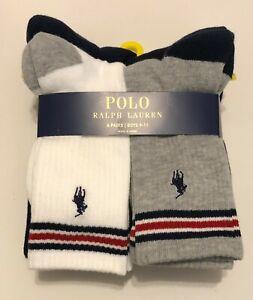 NWT 6 Polo Ralph Lauren Little Boys Skinny Stripe Crew Sport Socks Boys 9-11