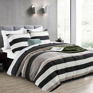 Stylish 3 Pcs Microfiber Stripe Bed Set Reversible Duvet Quilt Cover Double Size