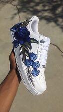 Custom air force 1 white low w/ Blue Rose