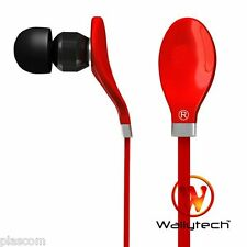 FIRE RED Wallytech Flat cable Earphones Headphones Fit Sony Apple Samsung Beats