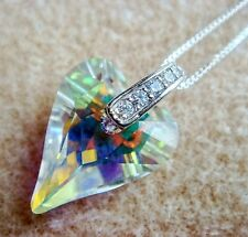 Sterling Silver Necklace Swarovski Element Crystal Clear AB Wild Heart With CZ