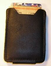 Black Leather Money Clip Card Case wallet hand crafted by disabled Navy vet 368