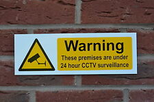 24 Hour CCTV Surveillance Warning/Security/Safety Plastic Sign 300mm x 100mm
