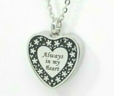 """Heart Ashes Holder Necklace, Floral Border """"Always in my Heart"""" 