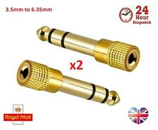2x Gold Plated 3.5mm Stereo Socket to 6.35mm 1/4 inch Mono Jack Plug Adapter