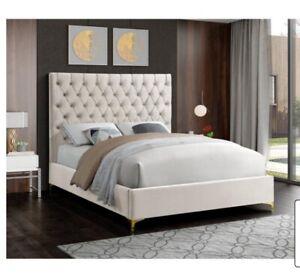 Meridian Furniture Cruz Cream Velvet King Bed. Brand New. Mattress Not Included