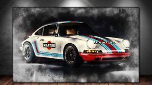 LEINWAND BILD ER XXL POP ART PORSCHE 911 MARTINI ABSTRAKT BUNT AUTO WAND POSTER