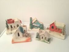 Vtg. lot of 5 Mica Putz Cardboard Christmas Houses made in Japan. (A)