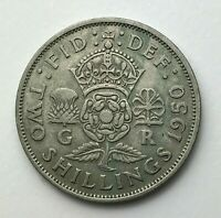 Dated : 1950 - One Florin - Two Shillings Coin - King George VI - Great Britain
