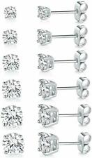 GUARANTEED Silver CZ Earrings 5 Pack Pairs Sets Round Studs