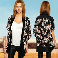 Boho Hippie Floral Chiffon Loose Long Kimono Coat Cape Blazer Jacket Cardigan