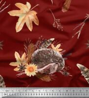 Soimoi Fabric Leaves & Hedgehog Animal Print Fabric by Yard - AN-11F