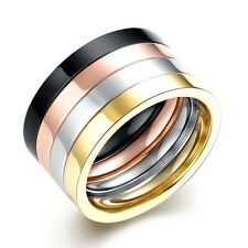 Cool Clear Stackable Stainless Steel Four Tone Rosy Gold Black White Ring 12mm