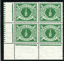 Ireland 1940 KGVI Postage Due ½ d emerald-green block superb MNH. SG D5. Sc J5.