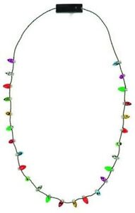 Holiday Flashing Christmas Light Bulb Necklace Battery Operated Party Favor