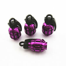 4 Pcs Purple Grenade Style Wheel Tyre Tire Valve Caps Stems Dust Cover For BMW