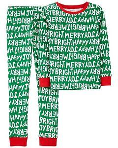 NWT Carter's sz 6 7 8 10 12 14 Green Holiday 2 pcs Pjs Pajamas Christmas Kid PJ