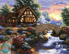 Cross Stitch Kit ~ Gold Collection Twilight Bridge English Cottage Swans #35172